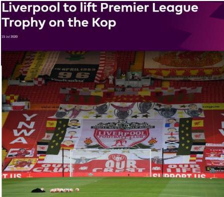 利物浦提前七轮锁定联赛冠军,创下英超新纪录